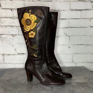Aerosoles Rodical Leather Floral Boho Heeled Boots